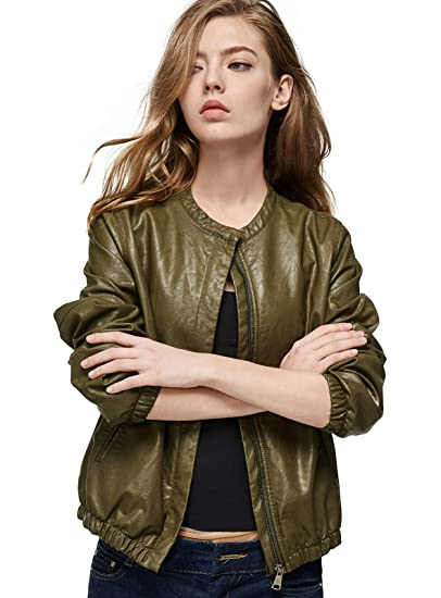 b43715032 Escalier Women Faux Leather Bomber Jacket Zipper Moto Biker Coat Outwear
