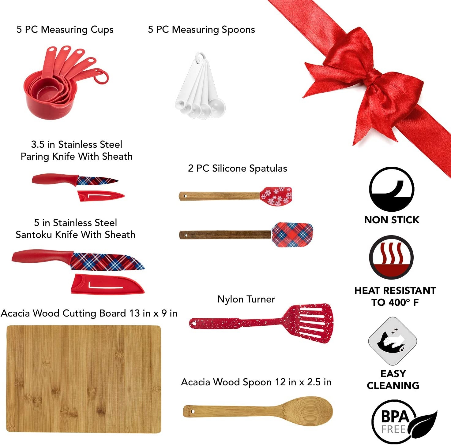 Cooking Utensils Gift Kitchen Decor Measuring Cups and Spoons Nylon Turner Silicone Spatulas Stainless Steel Knives Acacia Wood Spoon /& Cutting Board Cook with Color 19 Pc Kitchen Gadget Set