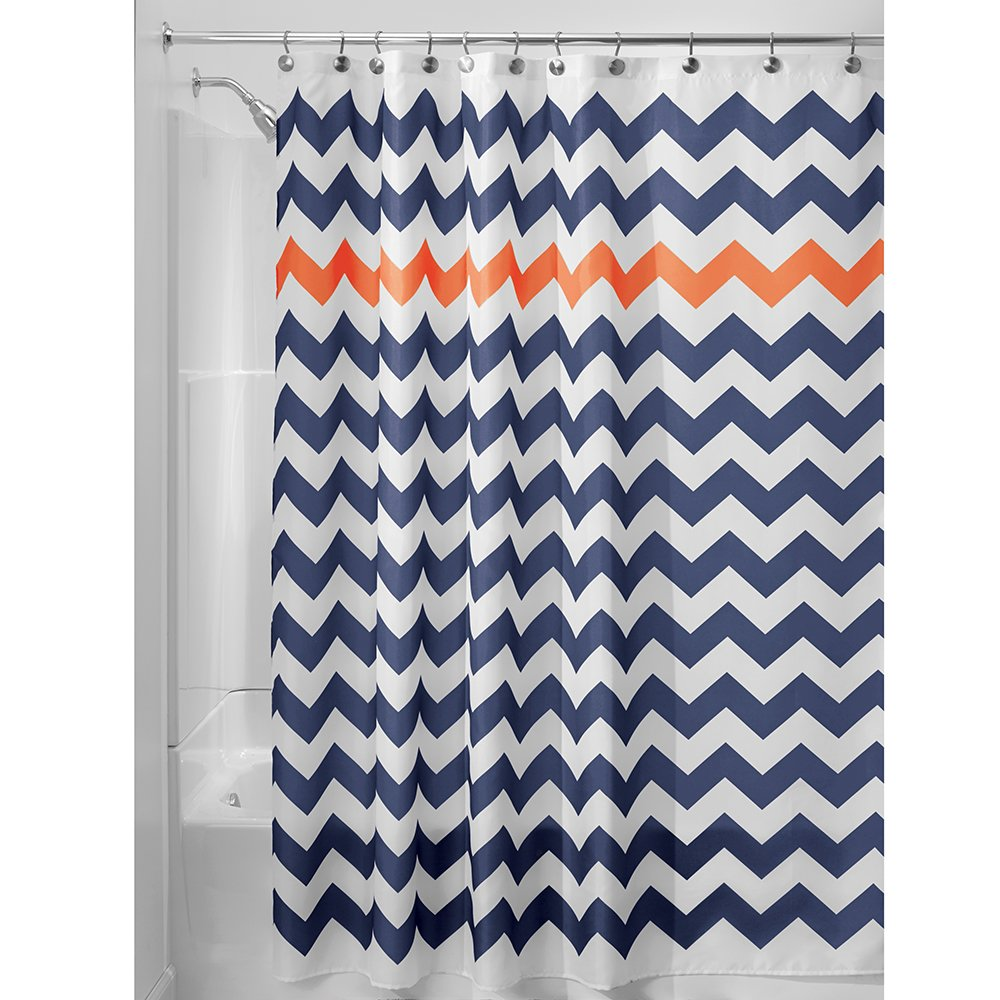 "InterDesign Chevron Soft Fabric Shower Curtain, 72"" x 72"", Navy/Burnt Orange"