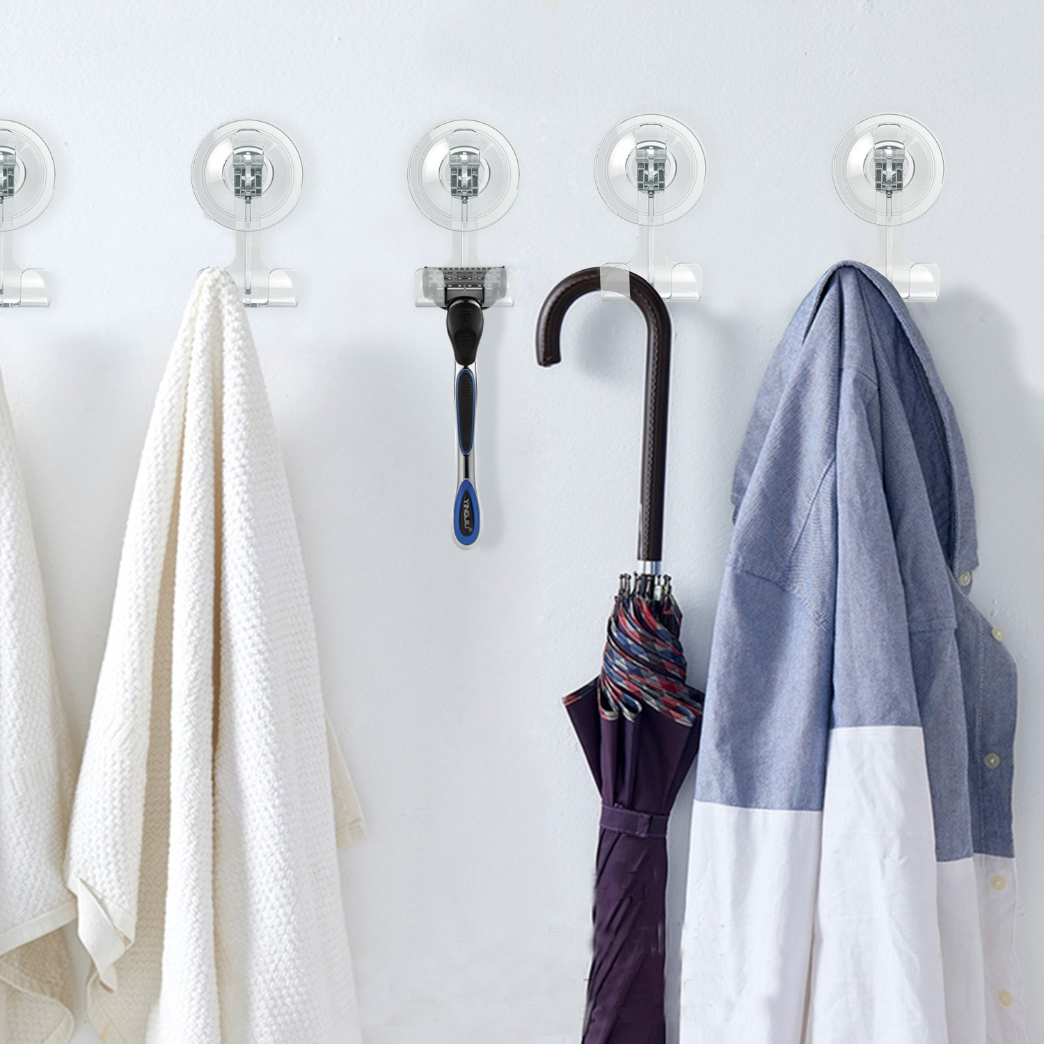Suction Hooks, Nikolable Suction Power Hooks Heavy Duty Wreath Hanger Suction Cup Hook for Bathroom Kitchen Living Room to Hang on Towels Razor Bag etc. 40 Hooks Hanger by Nikolable (Image #7)