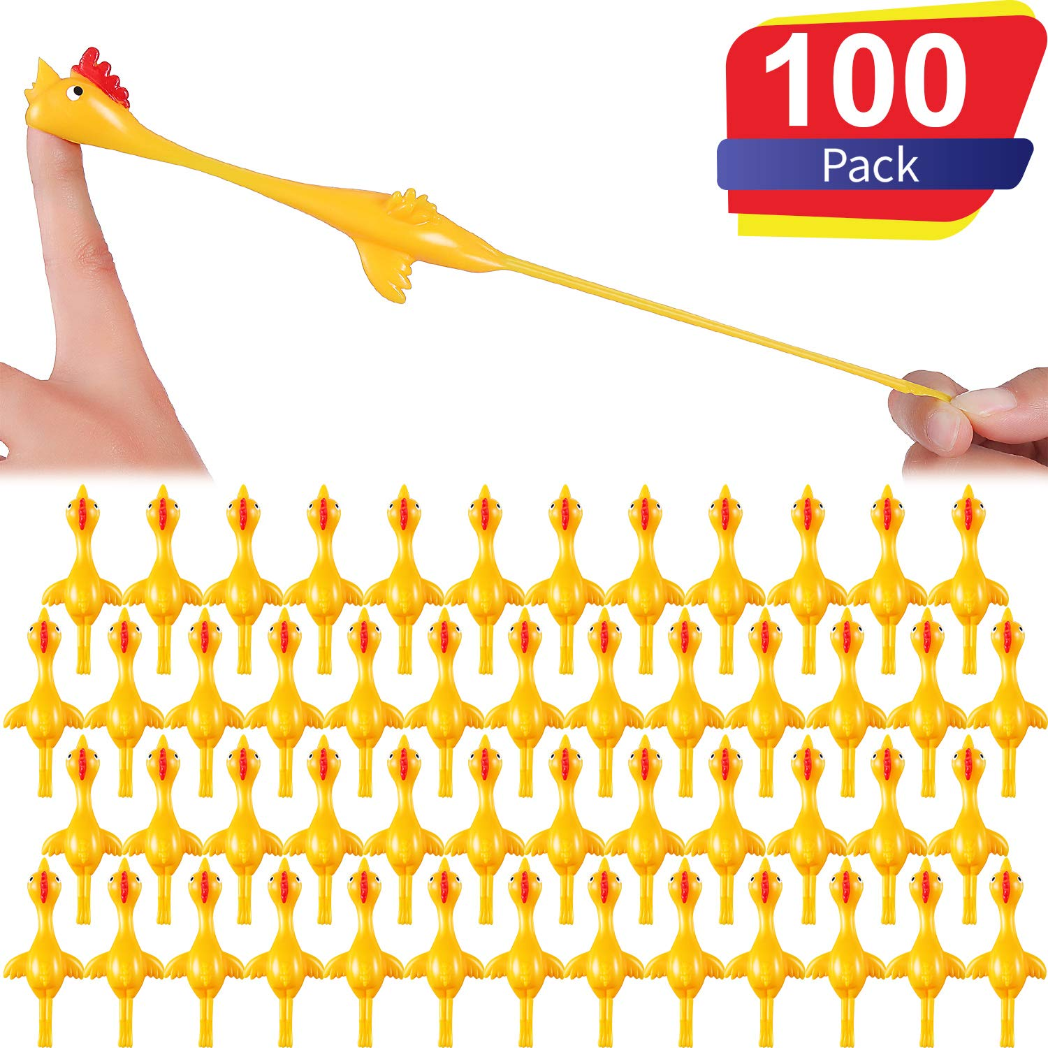 Sumind Slingshot Chicken Flick Chicken Flying Chicken Flingers Stretchy Funny Rubber Chickens Party Activity for Children (100 Pack Yellow)