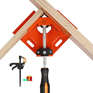 Wood Clamps For Woodworking, Basecent Metal Corner Clamps For Woodworking, 90 Degree Right Angle Clamps Clips Jigs Tool/Woodwork Vise Holder For Picture Frame Making/Welding Joint Tube