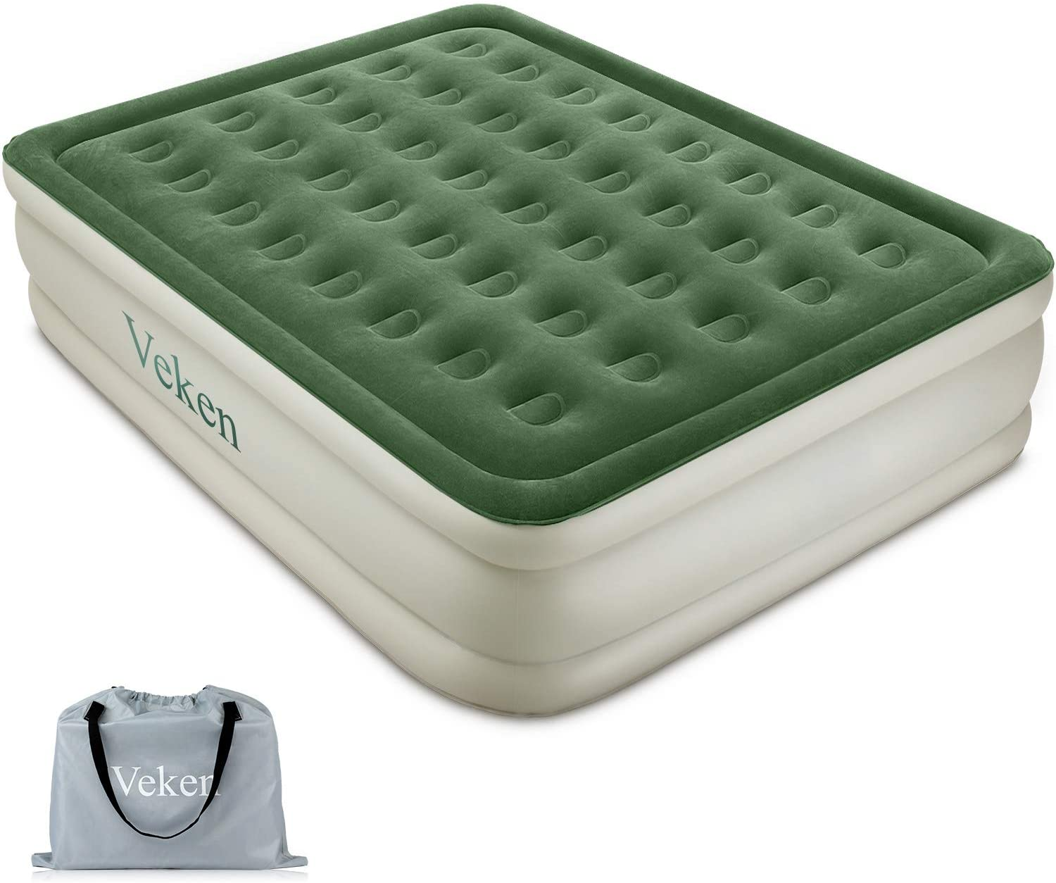 Veken Queen Air Mattress with Built-in Pump, Inflatable 18