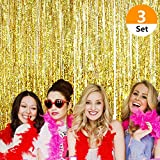 Set of 3 Sakolla Metallic Gold Foil Fringe Curtain Tinsel Curtains for Birthday Bachelorette Parties Weddings Photo Booth