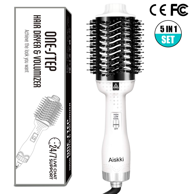 Aiskki 5 in 1 Hair Dryer One-Step Hot Air Brush Comb Styler&Volumizer Multifunctional Air Blower Hair Curler Salon Frizz Control Anti-Scald Hair Straightener by Aiskki