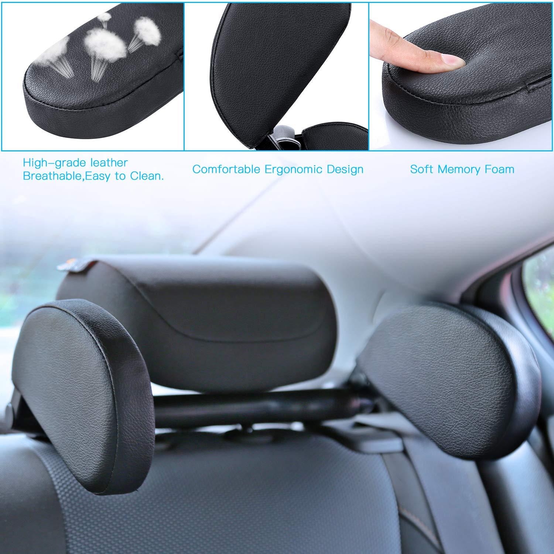Car Travel Headrest Adjustable Head Neck Support Travel Pillow Sleeping Cushion for Kids Adults family Friends TAESSV Car Seat Headrest Pillow Black