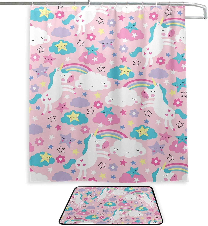 Waterproof Fabric Rainbow Stars Flower Unicorn Shower Curtain Set Bathroom Hooks