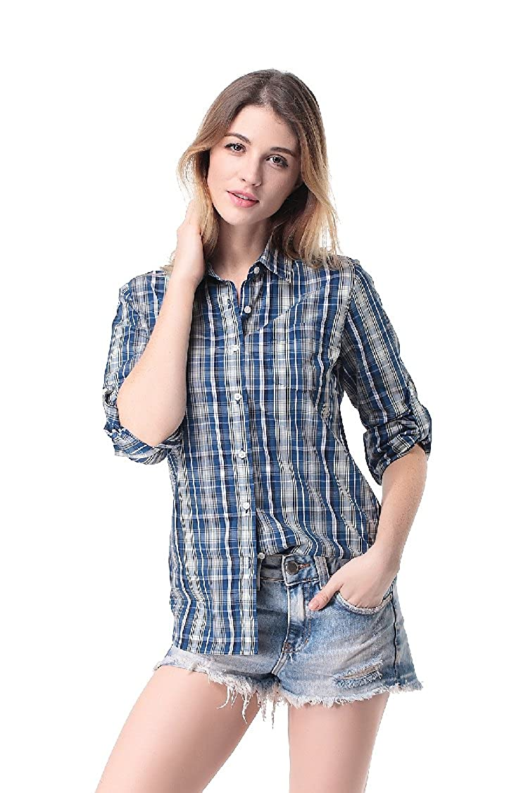 Pau1Hami1ton G-03 Women's Casual Plaid Long-Sleeve Blouses Cotton Shirts Tops G-03-1