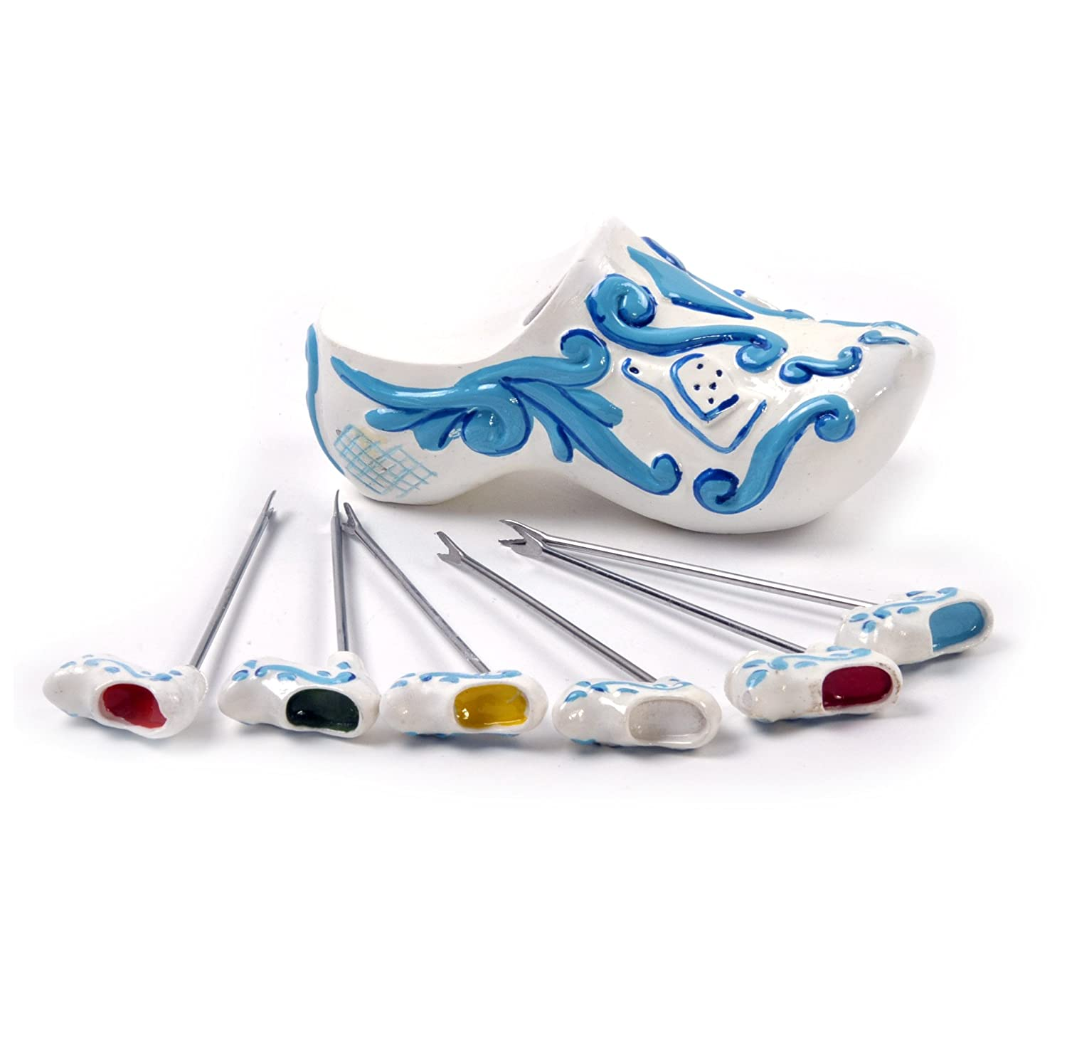 Boska Dutch Collection Small Skewer Set Wooden Shoe, Delft Blue, Cheese, Skewer, 853708 Boska Holland