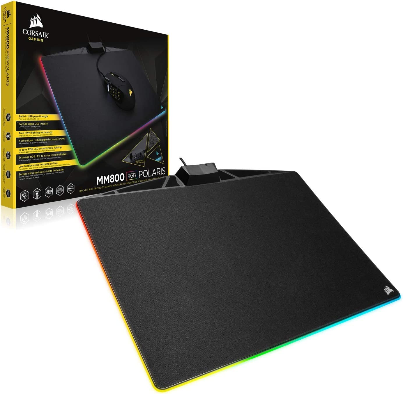 Corsair POLARIS Low Friction Gaming Mouse Pad w// USB Port /& 15 RGB LED Zones