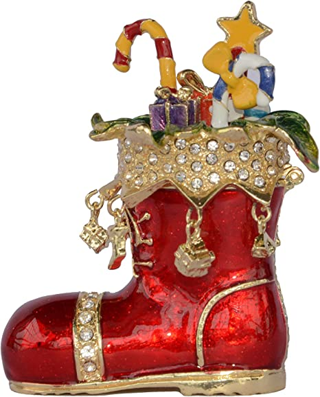 Amazon Com Minihouse Christmas Santa S Boot Trinket Jewelry Box Hinged Hand Painted Figurine Collectible Ring Holder Necklace Container Novelty Gifts With Gift Box Home Kitchen