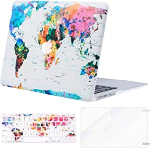 MOSISO MacBook Air 11 inch Case (Models: A1370 & A1465), Plastic Pattern Hard Shell Case & Keyboard Cover & Screen Protector Compatible with MacBook Air 11 inch, World Map