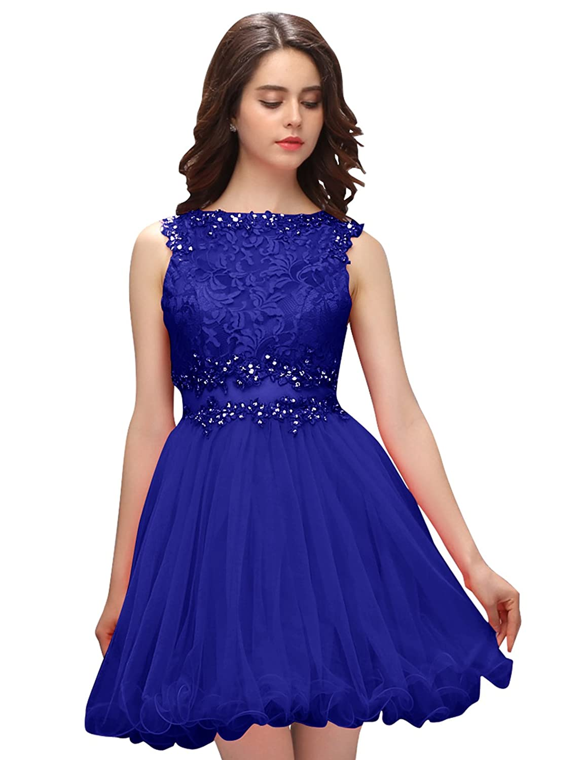 Dressystar Short Lace Homecoming Dresses Beaded Illusion Neckline and Waist Prom Gowns