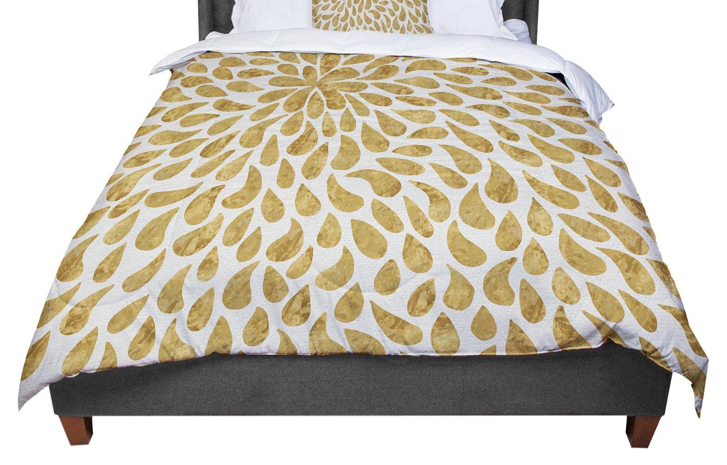 KESS InHouse 888 Design Abstract Golden Flower Gold Tan Queen Comforter 88 X 88