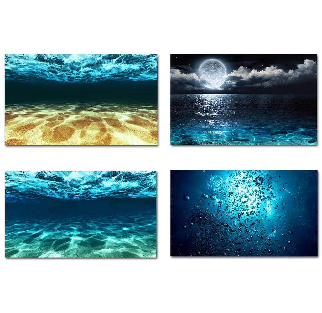 stunning Ocean Wall Decor Part - 18: Dark Blue Gold Ocean Sea Wall Art Canvas Prints Sea Bottom Pictures Moon On  Sea Night Scenery Large Nature Paintings Modern Wall Decor for Living Room  ...