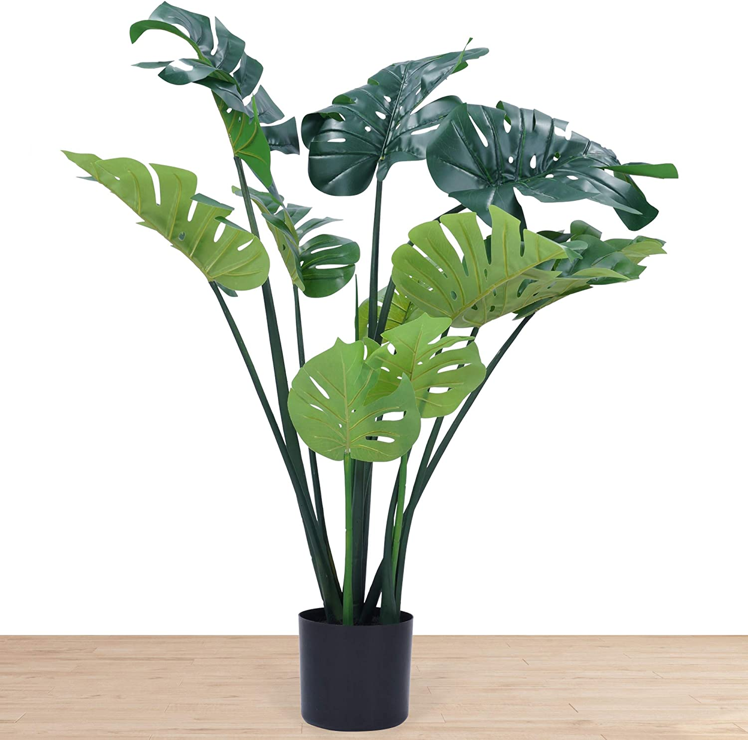 Artificial Monstera Deliciosa Plant 43 Inch Tall Artificial House Plant Faux Monstera Swiss Cheese Plant with Large Leaves Fake Tropical Palm Tree for Indoor Outdoor Home Office Garden Modern Gift