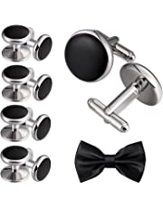 2pcs Cufflinks and 8pcs Cuff Studs Set for Men Stainless Steel Tuxedo Shirts Business Wedding