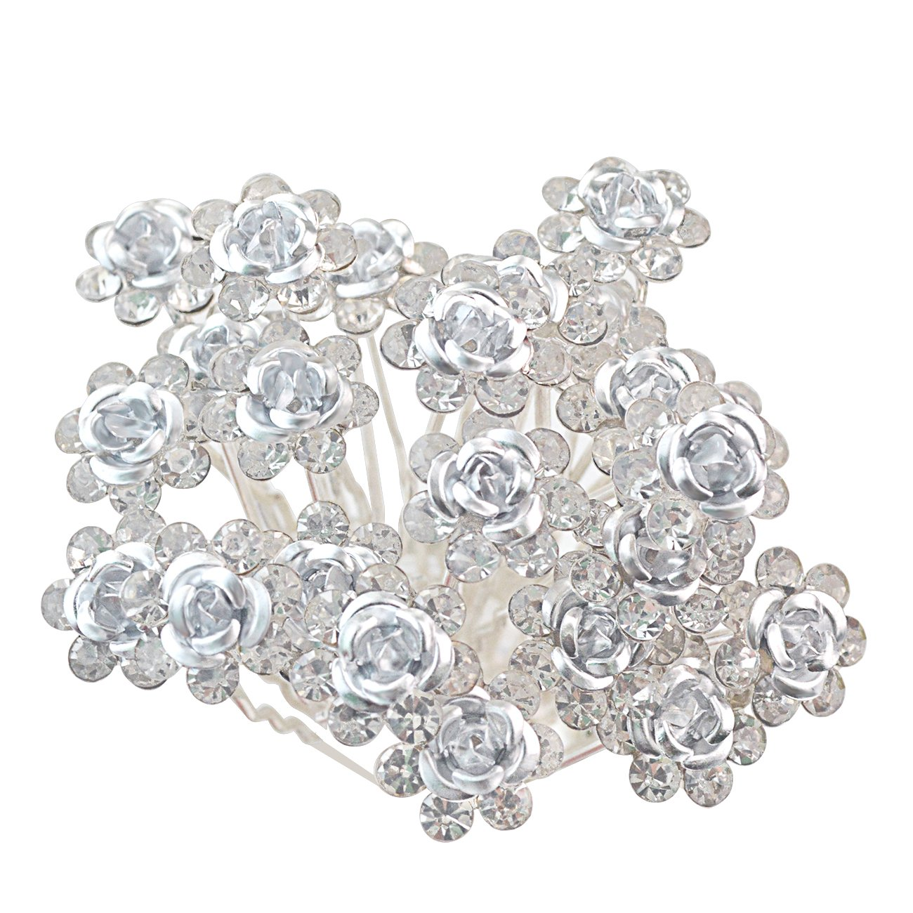 Rbenxia 20 Pcs Bridal Wedding Rhinstone Hair Pins 2.4 Inches Bridal Prom Clips Rose U-shaped Hair Pins for Women and Girls, White