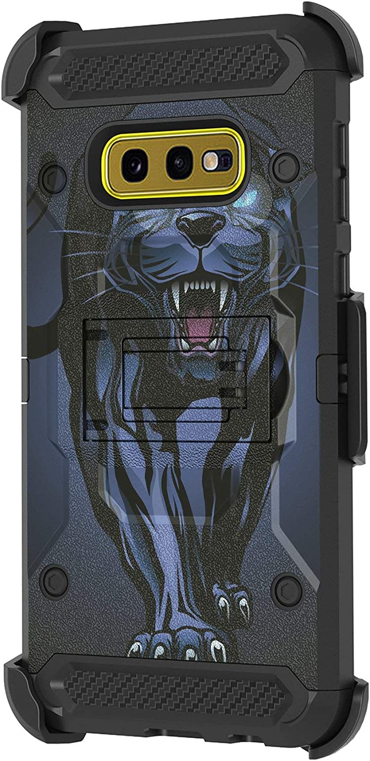 TurtleArmor | Compatible with Samsung Galaxy S10e Case | S10 Lite Case | G970 [Armor Pro] Full Protection Hard Armor Hybrid Rugged Holster Belt Clip Kickstand Case Animal - Fierce Panther
