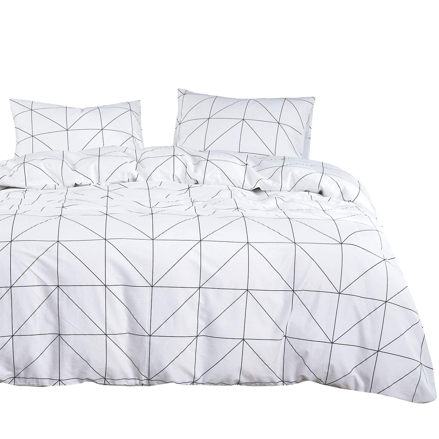 Wake In Cloud Grey Gray Black and White Modern Pattern Printed Marble Comforter Set B0400-BZ3-250-Q M 100/% Cotton Fabric with Soft Microfiber Fill Bedding 3pcs, Queen Size