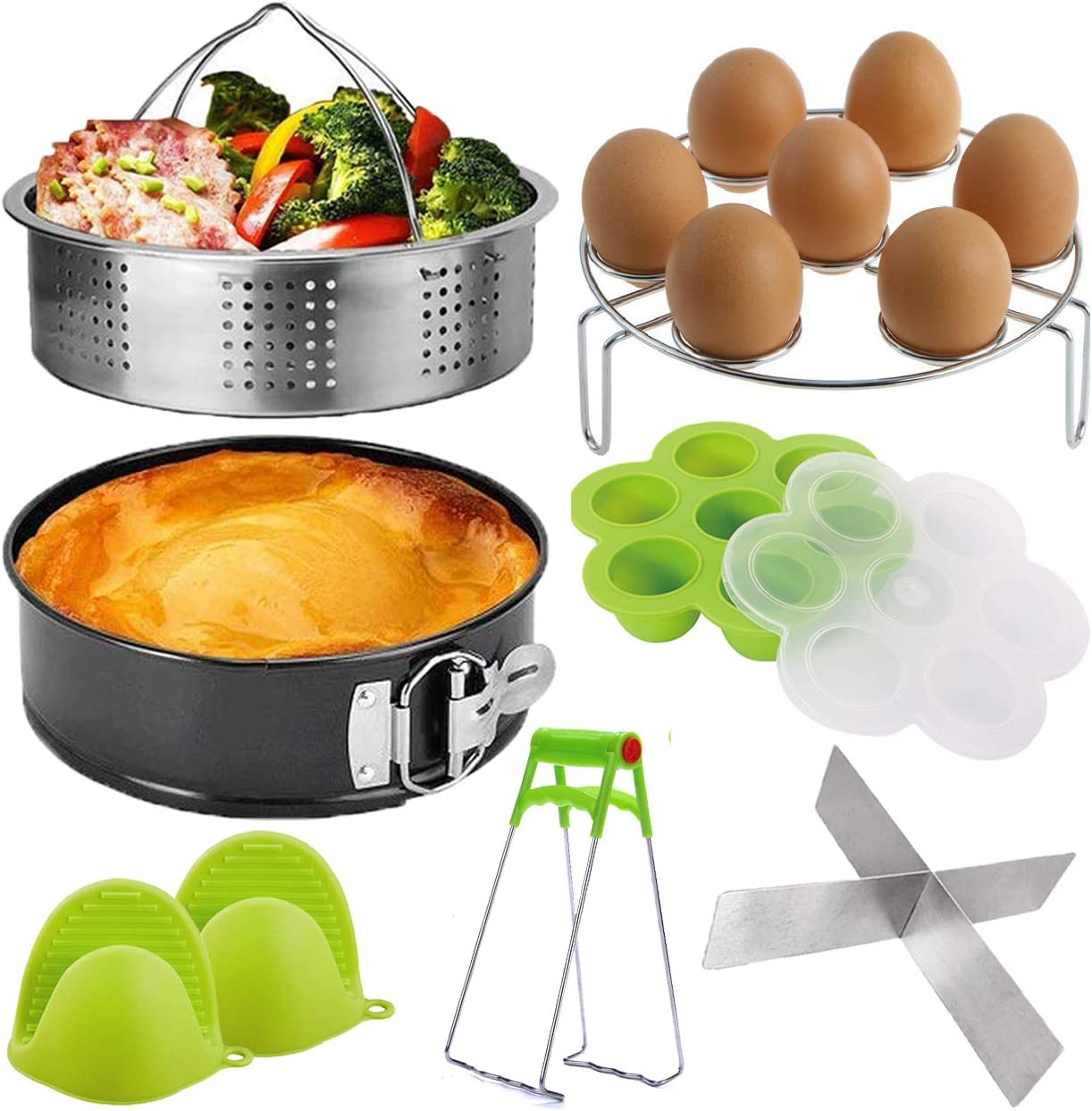 Pressure Cooker Accessories Set, Compatible with Instant Pot 5,6,8 QT Steamer Basket,Egg Rack, Springform Pan,Egg Bites Mold,Steamer Basket Inserts,1Pair Silicone Mitts/8pcs