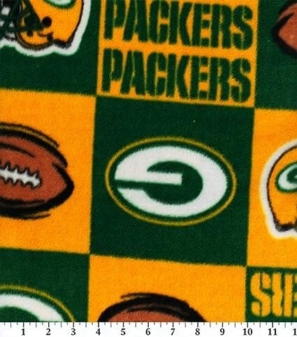 aina suosittu halvin hinta lähemmäs NFL Green Bay Packers Block Football Fleece Fabric Print By the Yard