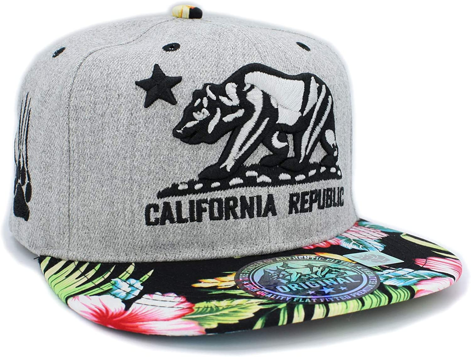 Embroidered California Republic with Bear Claw Scratch Snapback Cap