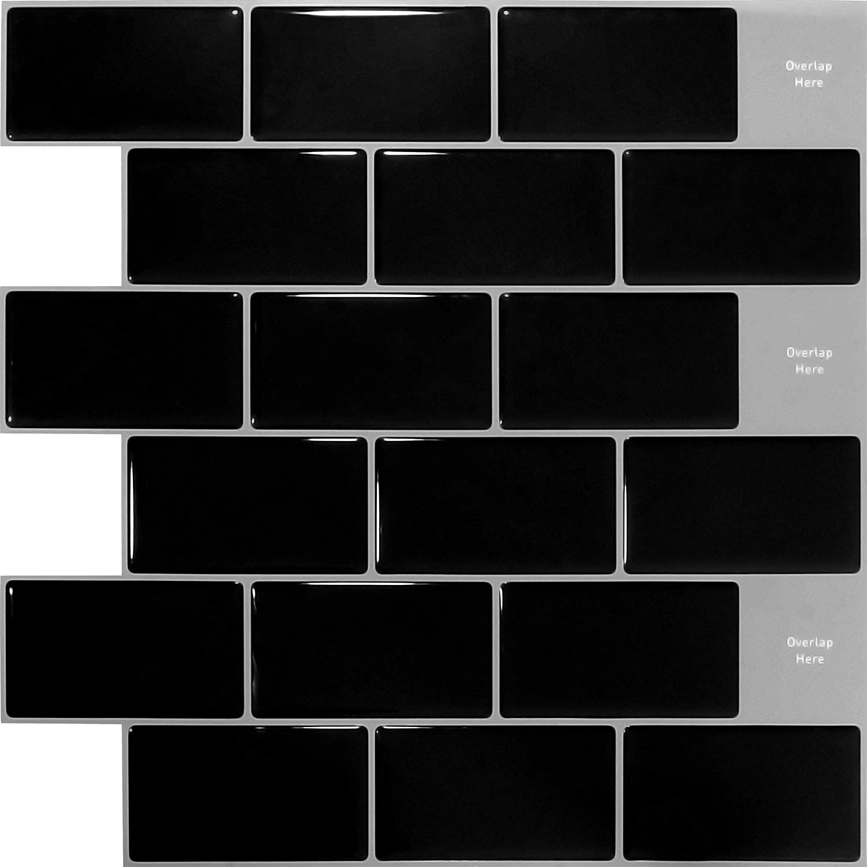 K/üchenfliesenaufkleber Peel and Stick Wandfliesenaufkleber Backsplash schwarze Fliesenaufkleber 30.5 x 30.5cm 4 Blatt SHINGONE 3D selbstklebende Fliesenaufkleber Wasserdicht f/ür Badezimmer-