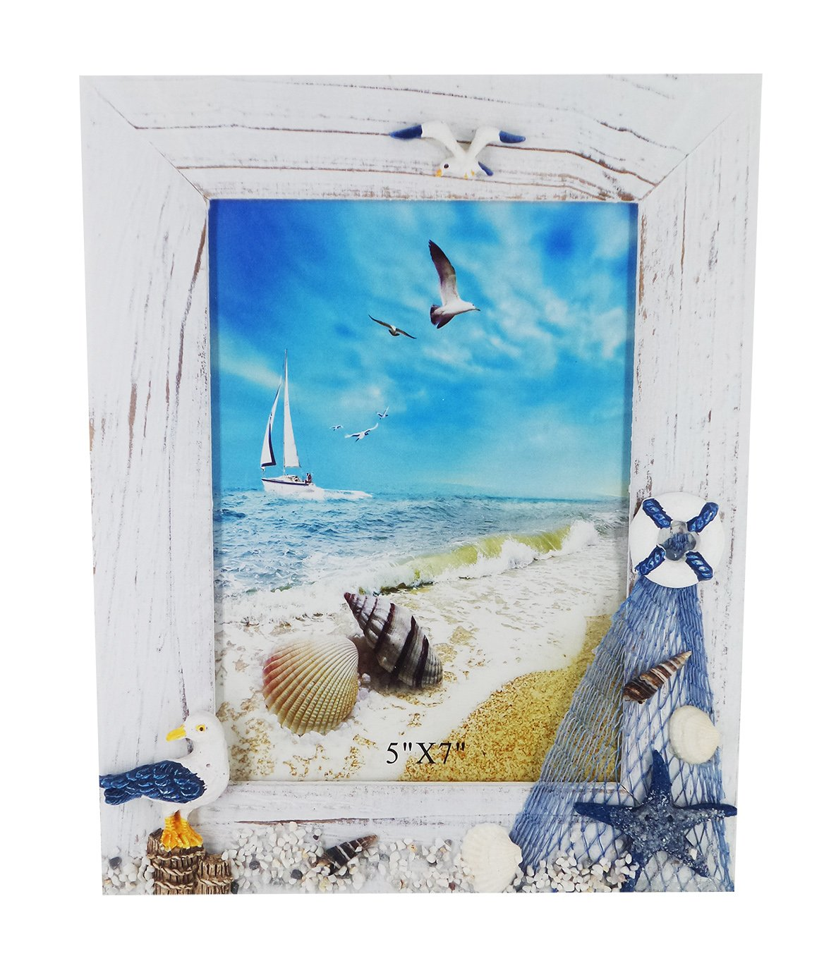 Gorse 5'' X 7'' Beach Style Wooden Photo Frame Sea Gull Decorative Picture Frame Study Children Room