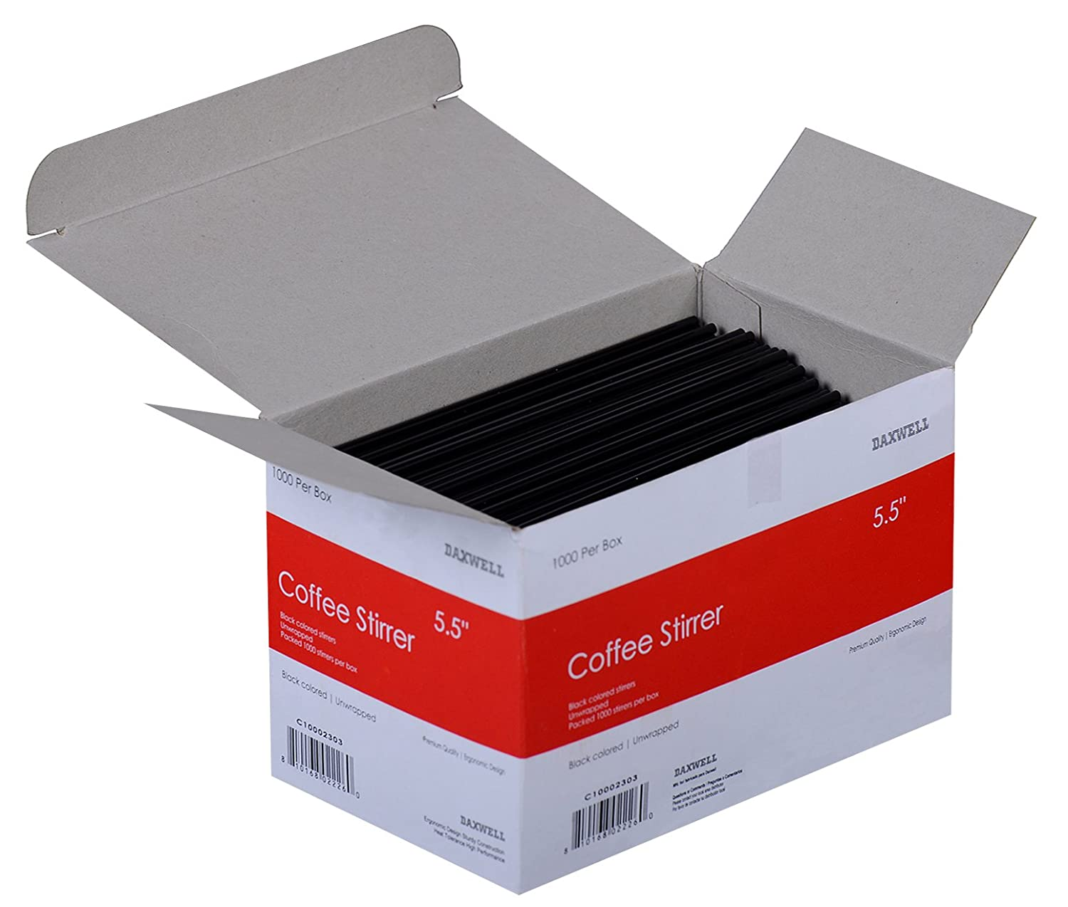 10 Boxes of 1,000 Black C10002303 Daxwell 5.5 x 3mm Coffee Stirrer