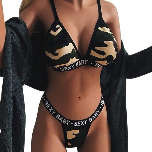 4a2c27348401d Amazon.com: Women Sexy Bikini Set Camouflage Print Sexy Baby Lingerie  Spaghetti Strap Underwear Beach Valentines Day Party Drfoytg: Clothing