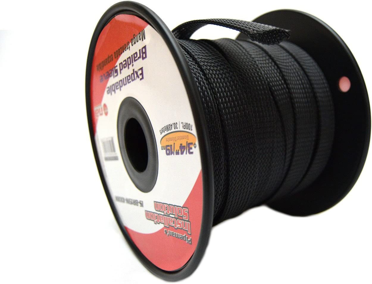 Amazon.com: BLACK 3/4 100FT BRAIDED EXPANDABLE FLEX SLEEVE WIRING HARNESS  LOOM WIRE COVER: Home ImprovementAmazon.com