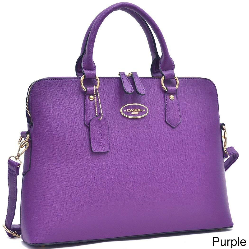 DSOS Purple Briefcase Satchel Handbag, Rolled Handle, Slim, Faux Leather