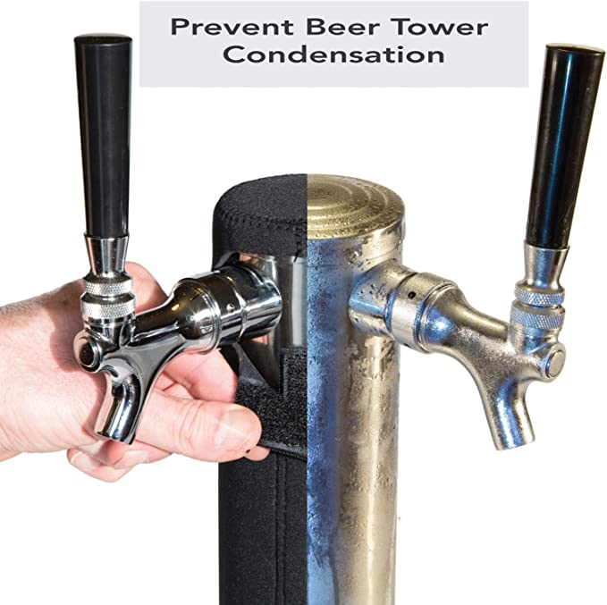 Kegerator Tower Cooler for Beer Tower - Neoprene Design - Perfect Fit for Kegerator Tap Tower - Easy to Use Beer Tower Cooler Accessory (3.0