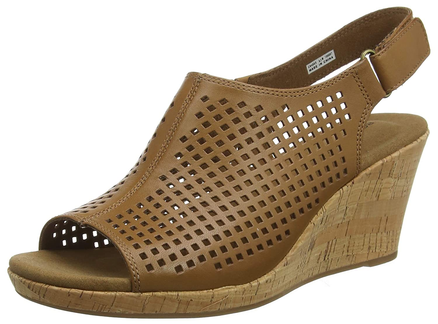 Marronee (Tan Leather 003) Rockport Briah Perforated Sling Back, Seali con Plateau Donna