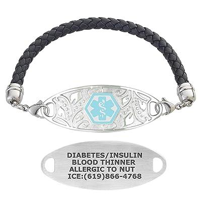Amazon com: Divoti Custom Engraved Medical Alert Bracelets