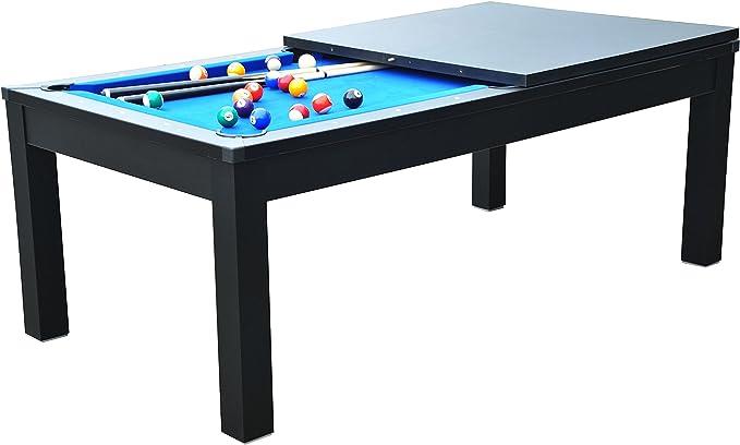Billar americano con bandeja para comer, 2 juegos de bolas y accesorios, negro-azul: Amazon.es: Deportes y aire libre