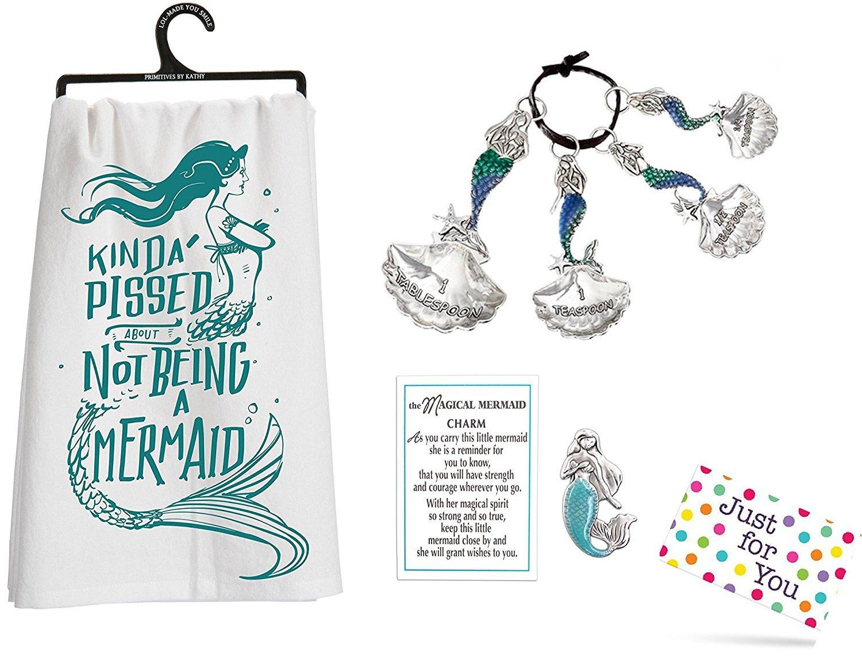 J4U Mermaid Kitchen Set - Kinda Pissed Towel, Measuring Spoons, and Charm with Gift Tag