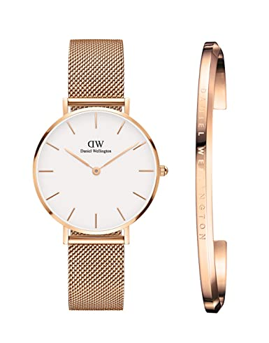 3541b98a1110 Buy Daniel Wellington Classic Petite Melrose Analogue White Dial 32Mm Watch    Rose Gold Cuff Combo For Women Dw00500019 Online at Low Prices in India  ...