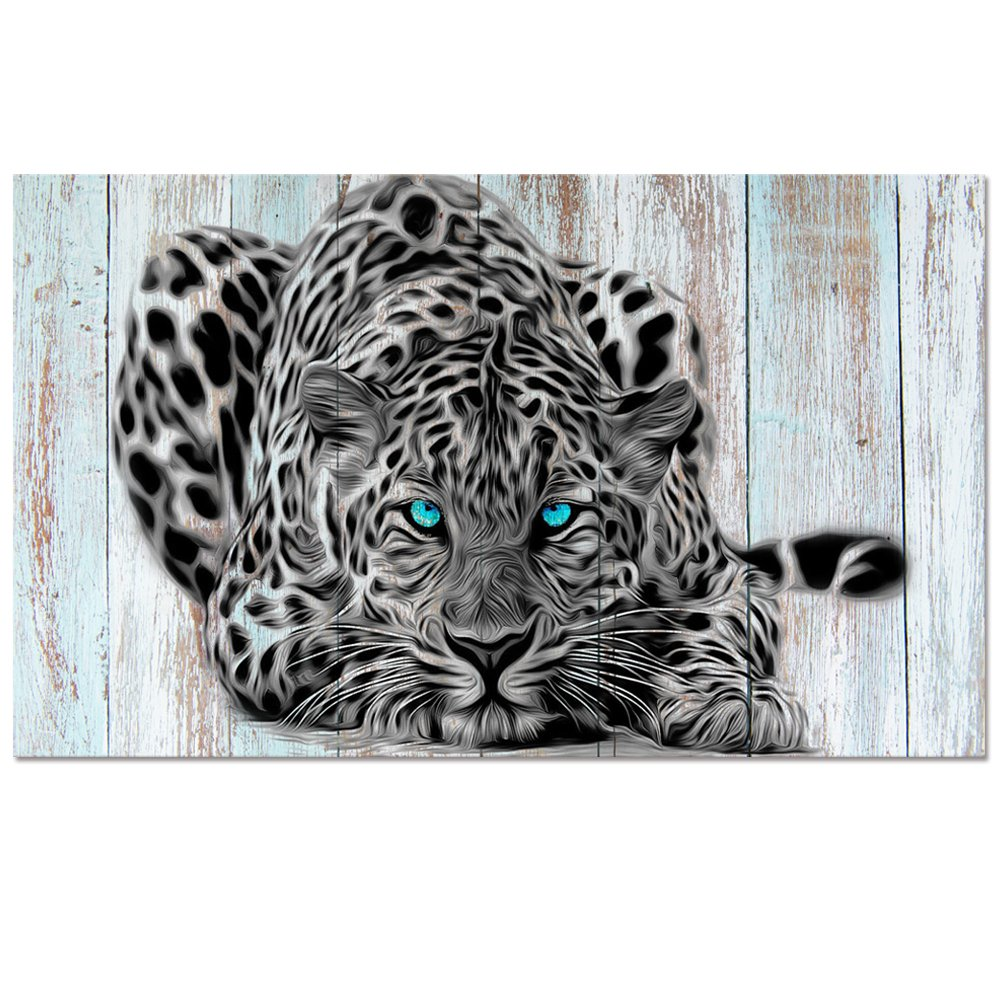 Abstract Black and White Animals Leopard Canvas Prints Wall Art Home Decor Large Leopard Painting Printed on Canvas Ready to Hang (24''x40'' Retro)