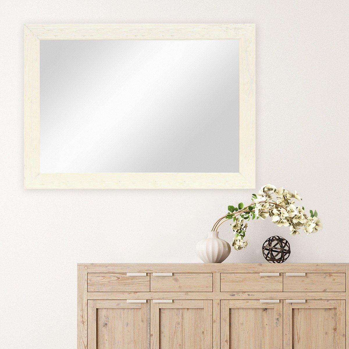 PHOTOLINI Wand-Spiegel 60x80 60x80 60x80 cm im Massivholz-Rahmen Strandhaus-Stil Breit Eiche-Optik Rustikal Spiegelfläche 50x70 cm 9a7f1f
