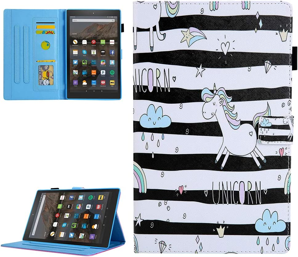 Folio Slim Fit Multi-Angle Stand Premium PU Leather Cover with Auto Wake//Sleep for  Kindle Fire HD 10.1 inch Blue puppy Nasuza Kindle Fire HD 10 Case 5th//7th Gen, 2015//2017 Release