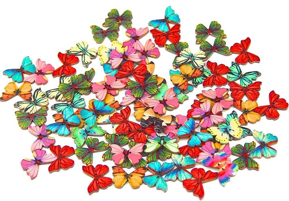 Msyou 50pz 2fori misto bottoni in legno retrò farfalla Buttons 28mm bottoni a mano per lavoro a maglia cucito scrapbooking DIY Craft