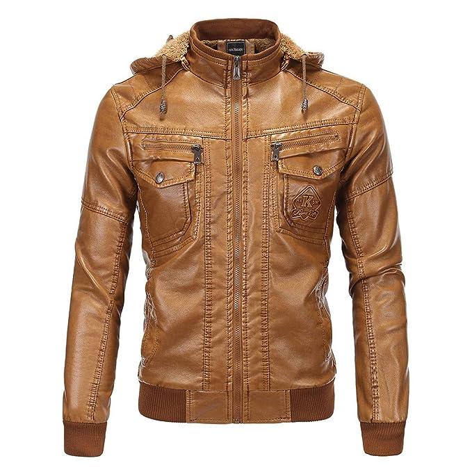 MISSMAOM Hombre Chaqueta de Cuero Vintage Abrigo con Capucha Fleece Cálido: Amazon.es: Ropa y accesorios