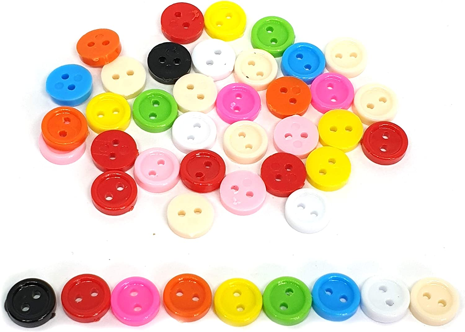 100 pcs Tiny Buttons micro buttons 2 holes size 6mm mix yellow pink orange
