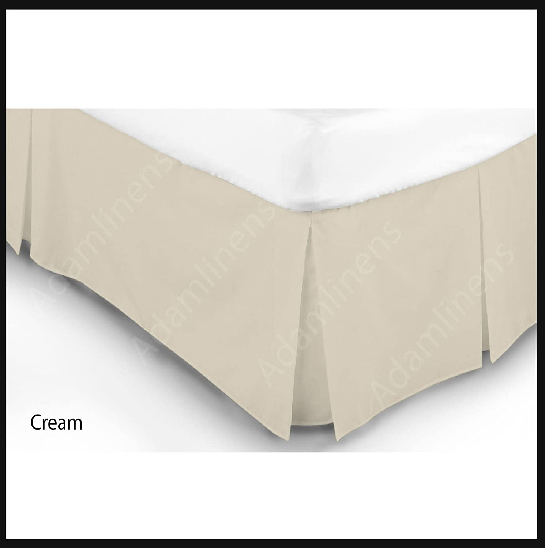 Adamlinens Luxury 68 Pick Base Valance sheet Box Pleated (Biege, Double) Adam's