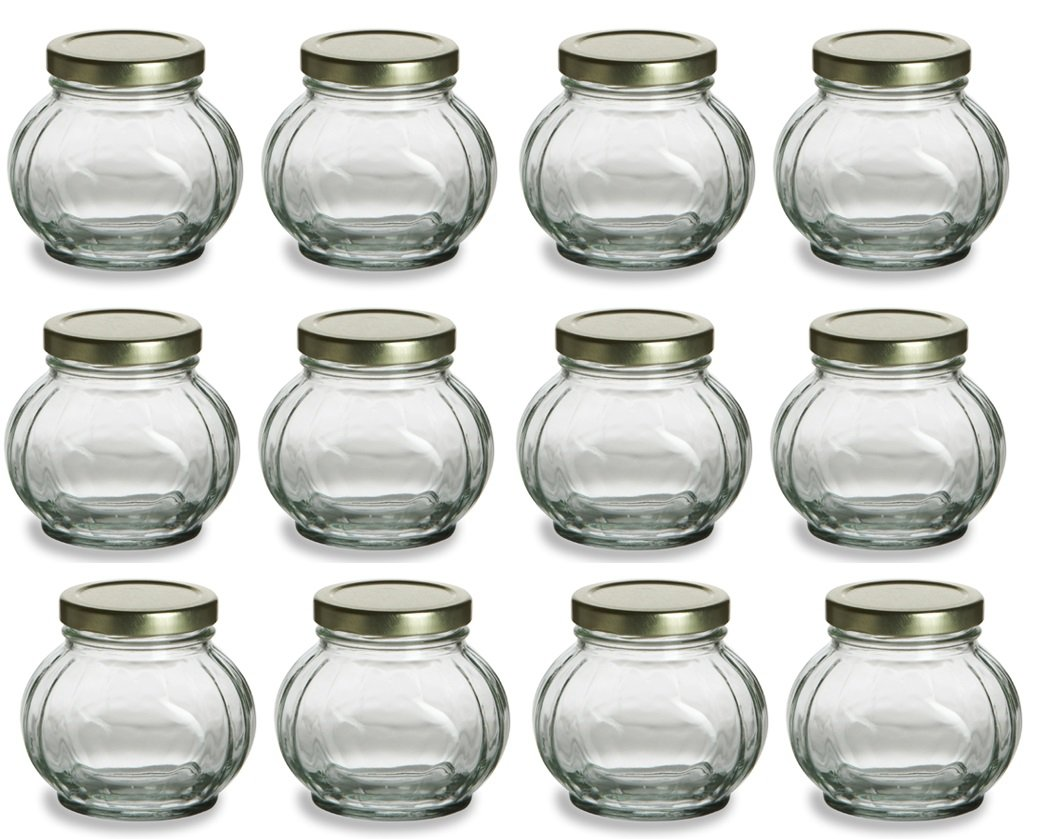 Amazon.com: Nakpunar 12 pcs, 8 oz Round Glass Jars for Jam, Honey ...