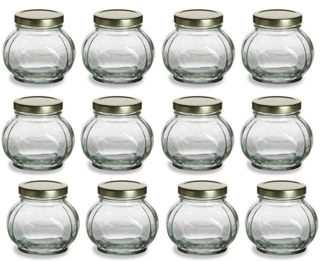 Nakpunar Round Glass Jars with Lids - Canning, Preserving (8 oz, Gold)