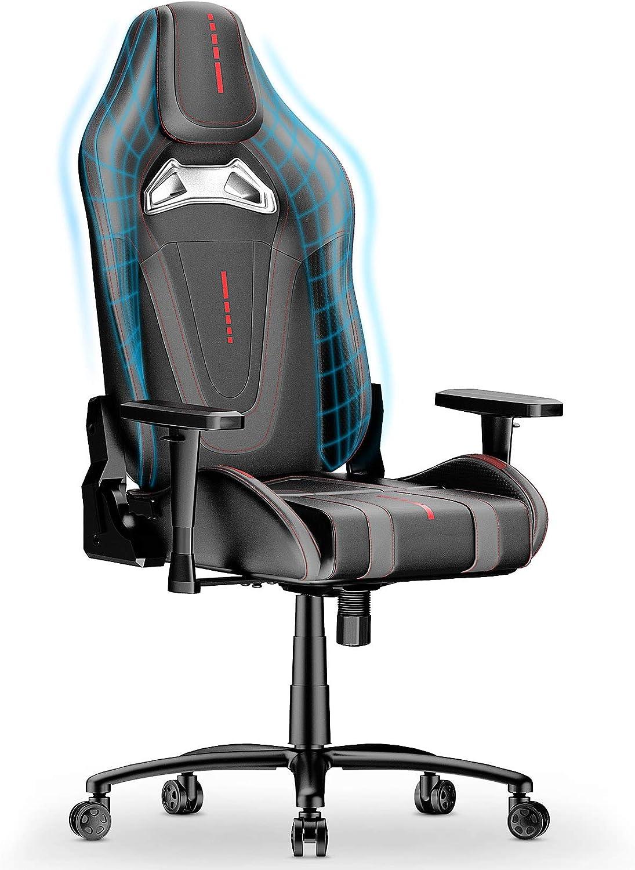 mfavour Silla Gaming Eslabón giratorio ergonómico Silla Gamer con diseño de carreras Respaldo de ajuste libre de 170°Reposabrazos 2D (gris y negro)