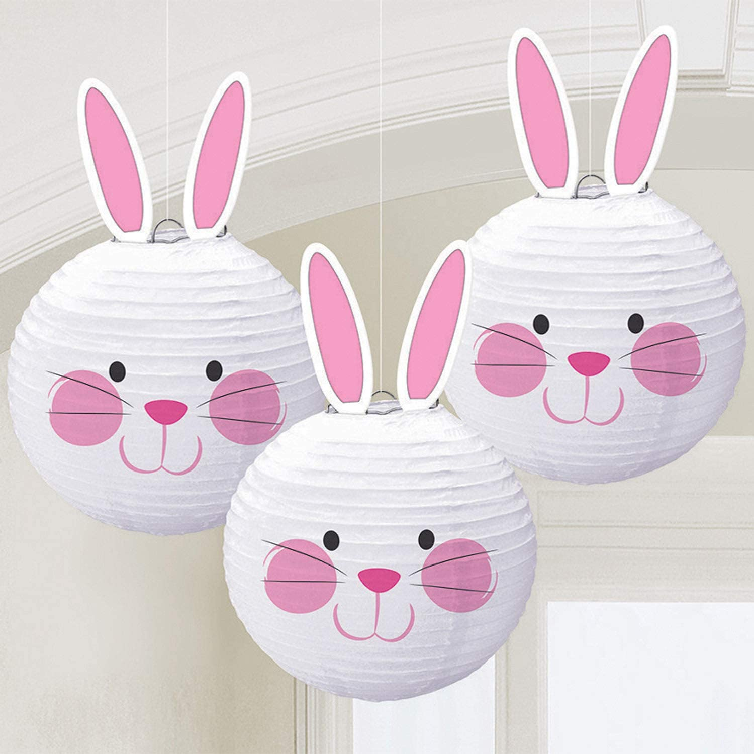 Multicolored Bunny Shaped Paper Lanterns, 3 Ct. | Easter Decoration